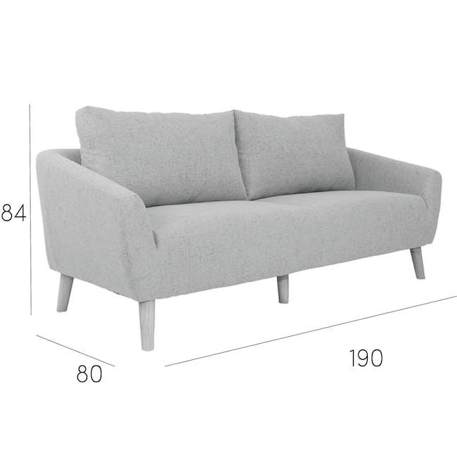 Hana 3 Seater Sofa- Light Grey - 9