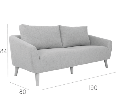 Hana 3 Seater Sofa - Charcoal - Image 2