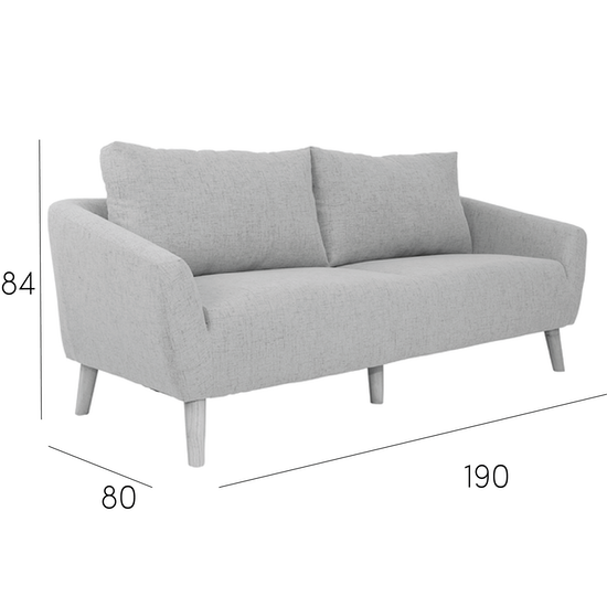 Hana 3 Seater Sofa Light Grey