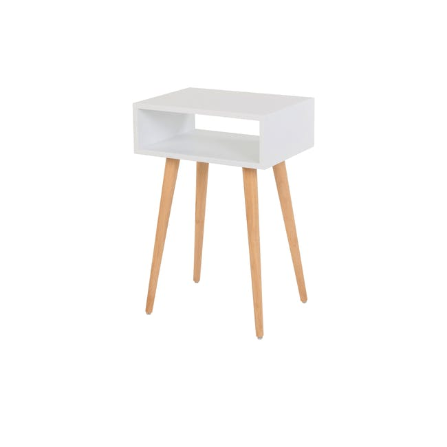 Katana Super Single Headboard Bed with 1 Bowen Bedside Table in Natural, White - 11