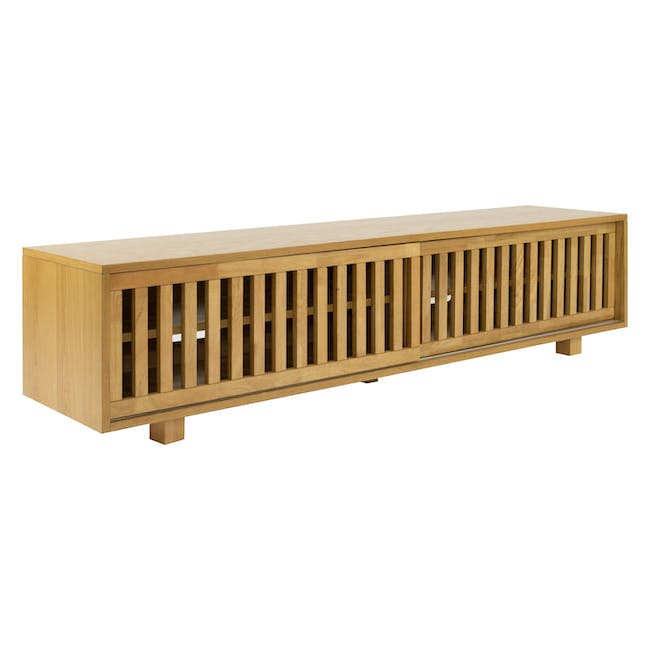 Keita TV Console 1.8m in Oak with Carsyn Oval Coffee Table in Taupe Grey - 3