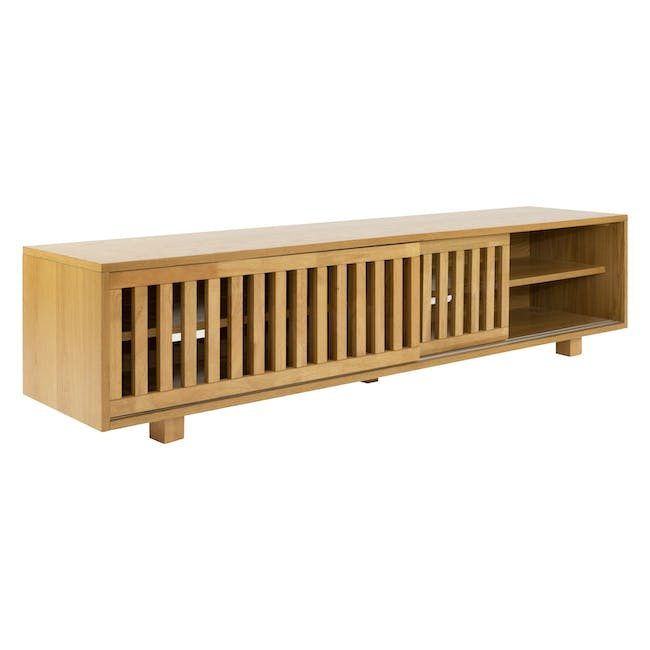 Keita TV Console 1.8m in Oak with Carsyn Oval Coffee Table in Taupe Grey - 5