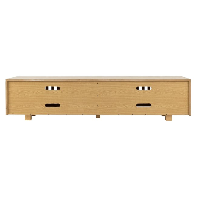 Keita TV Console 1.8m in Oak with Carsyn Oval Coffee Table in Taupe Grey - 7