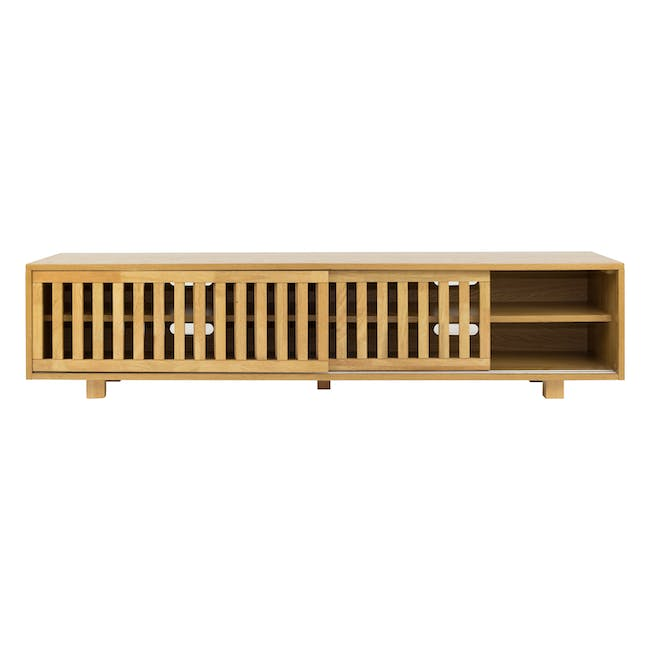 Keita TV Console 1.8m in Oak with Carsyn Oval Coffee Table in Taupe Grey - 4