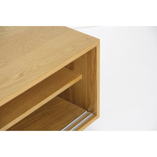 Keita TV Console 1.8m in Oak with Carsyn Oval Coffee Table in Taupe Grey - 10