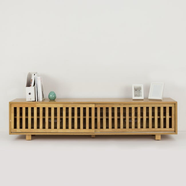 Keita TV Console 1.8m in Oak with Carsyn Oval Coffee Table in Taupe Grey - 1