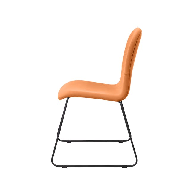 Ava Dining Chair - Matt Black, Tangerine - 5