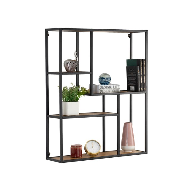 Ruthin Wall Shelf - Black, Oak - 3