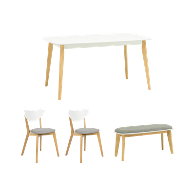 Harold Dining Table 1.5m with Harold Bench and 2 Harold Dining Chairs - Image 1