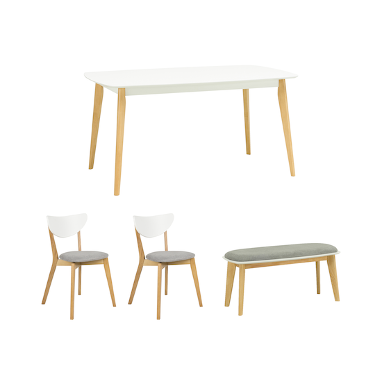 HipVan Bundles - Harold Dining Table 1.5m with Harold Bench and 2 Harold Dining Chairs