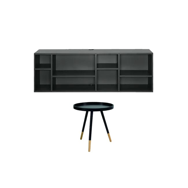 Liam Media Rack 1.2m in Charcoal Grey with Innis Coffee Table in Black - 0