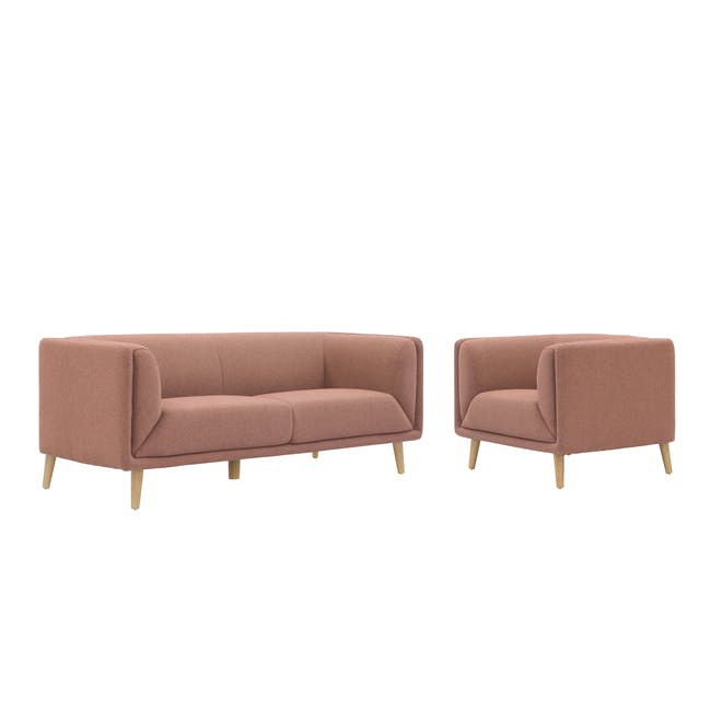 Audrey 3 Seater Sofa with Audrey Armchair - Blush - 0