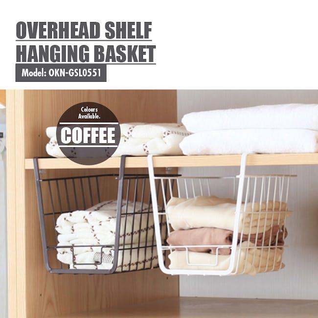 Small Overhead Shelf Hanging Basket - Matt Black - 2