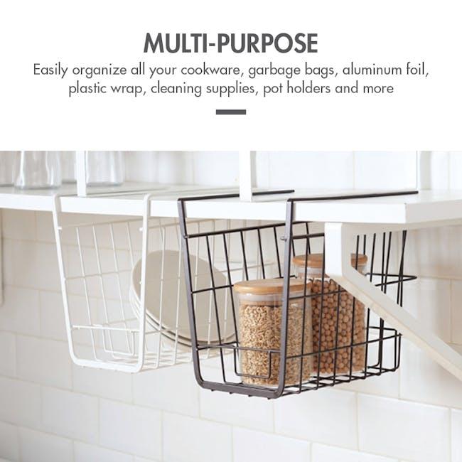 Small Overhead Shelf Hanging Basket - Matt Black - 1