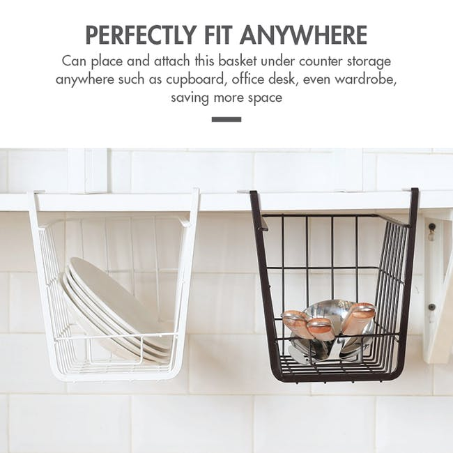 Small Overhead Shelf Hanging Basket - Matt Black - 4
