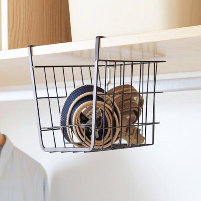 Small Overhead Shelf Hanging Basket - Matt Black - 5