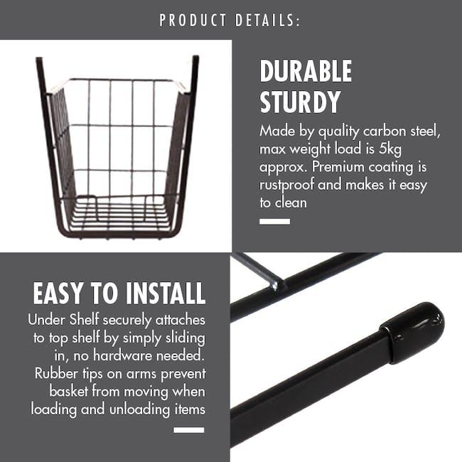 Small Overhead Shelf Hanging Basket - Matt Black - 3
