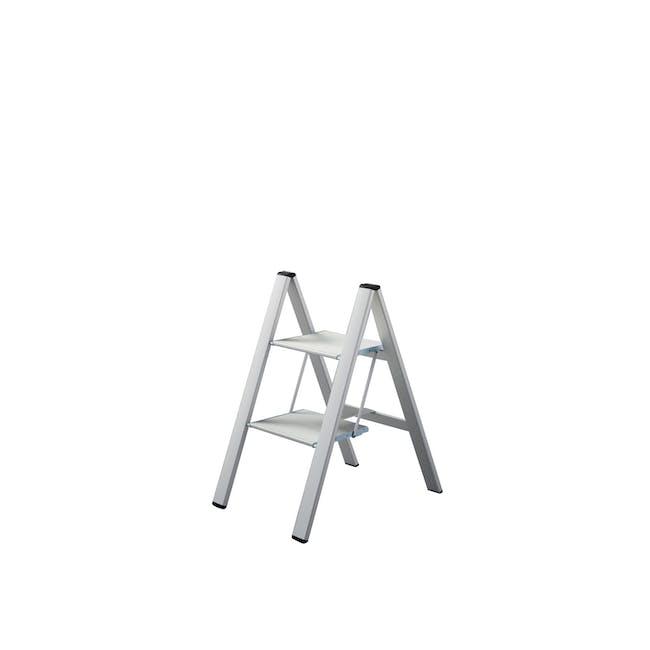Hasegawa Lucano Slim Aluminium 2 Step Stool - Silver - 0