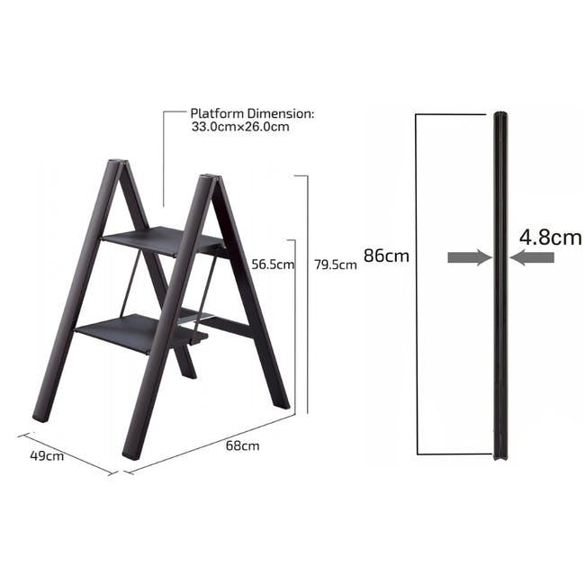 Hasegawa Lucano Slim Aluminium 2 Step Stool - Silver - 6