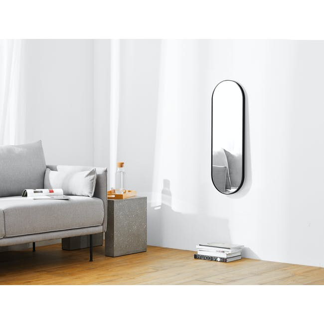Arvi Oval Half-Length Mirror 30 x 90 cm - Black - 1