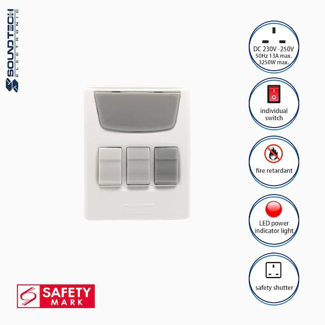 SOUNDTEOH Multiway Adaptor With Individual Switches - 1