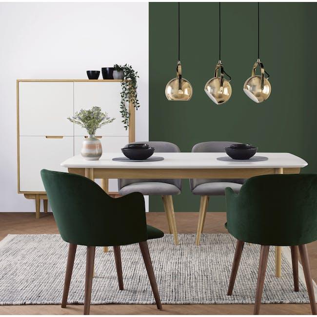 Anneli Dining Armchair - Walnut, Dark Green (Velvet) - 1