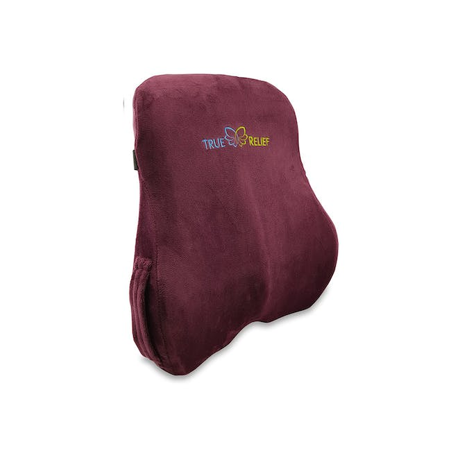 True Relief Ortho-Back & Lumbar Support Memory Foam Cushion - Wine Red - 0
