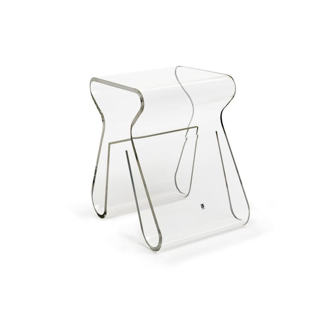 Magino Stool with Magazine Rack - Clear - 0