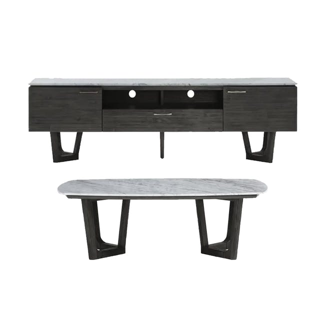 Carson Marble TV Console 2m with Carson Marble Coffee Table - 0