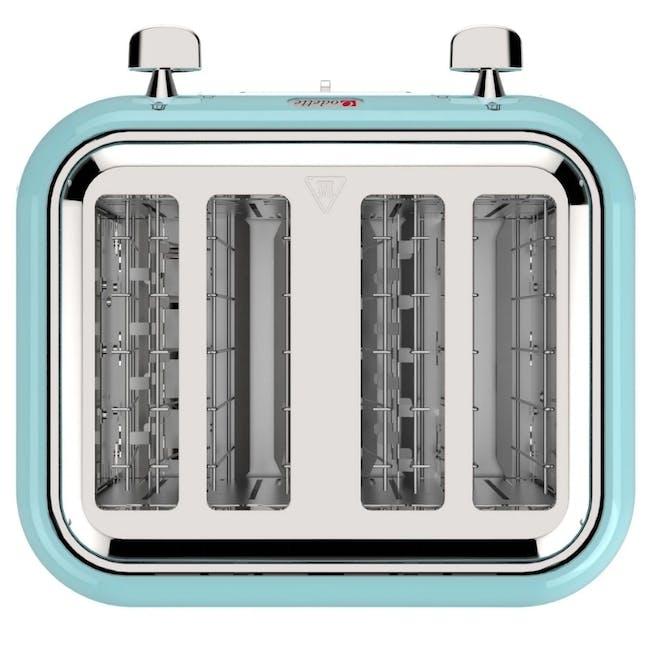 Odette Jukebox 4-Slice Bread Toaster - Mint - 3