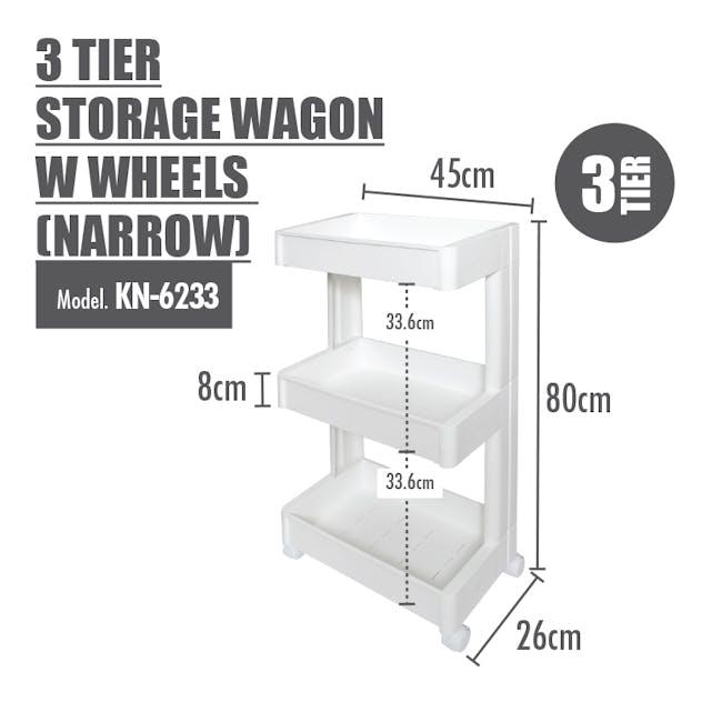 3 Tier Storage Wagon with Wheels - Narrow - 1