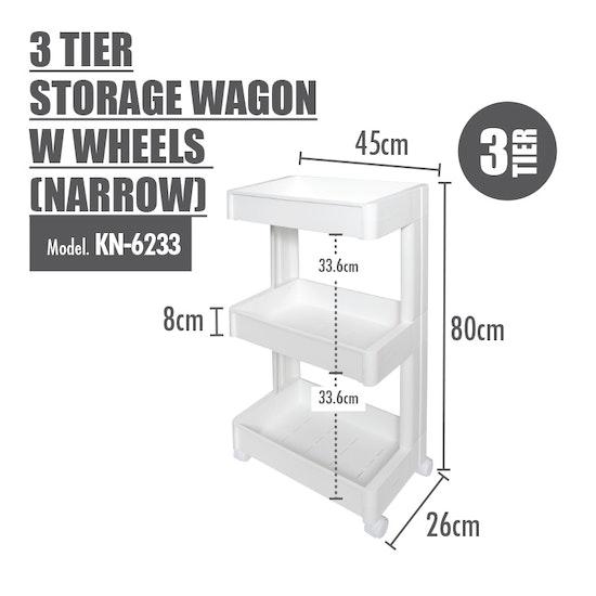 Houze - 3 Tier Storage Wagon with Wheels - Narrow