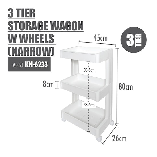 Houze - 3 Tier Storage Wagon with Wheels - Narrow