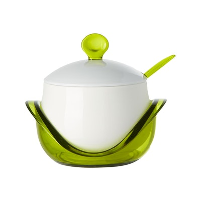 Porcelain Condiment Pot With Spoon - Green - Image 2