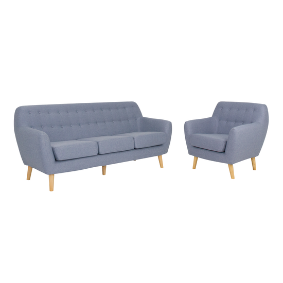 HipVan Bundles - Emma 3 Seater Sofa and Emma Armchair - Blue