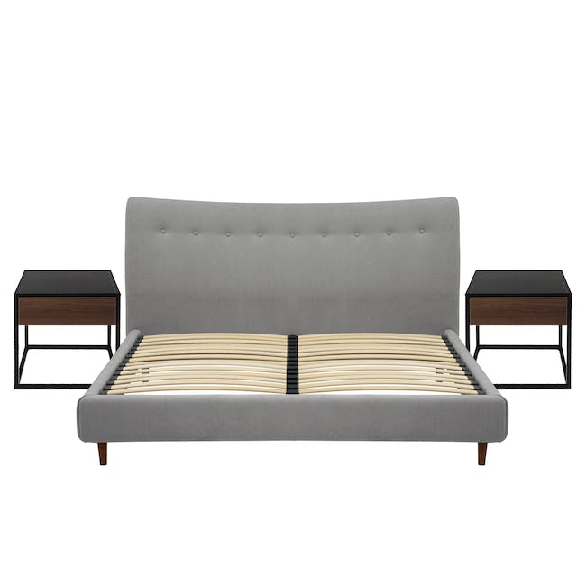 Ronan Queen Bed in Gray Owl with 2 Weston Bedside Tables - 0