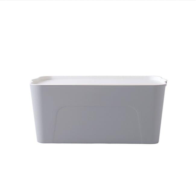 Clayton 16L Grey Storage Box with White Lid - 0