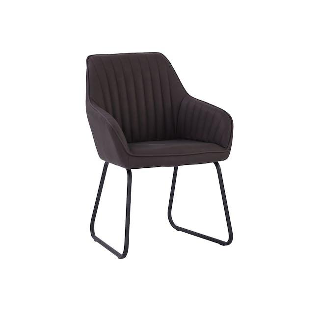 Edson Dining Armchair - Mocha (Faux Leather) - 0