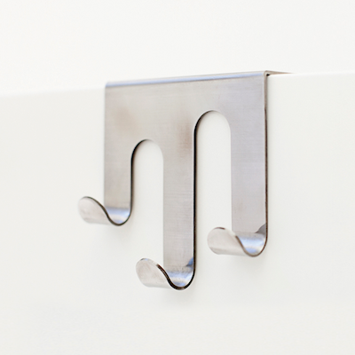 Triple J-Hook over Drawer / Cupboard - Brushed Steel - Image 1