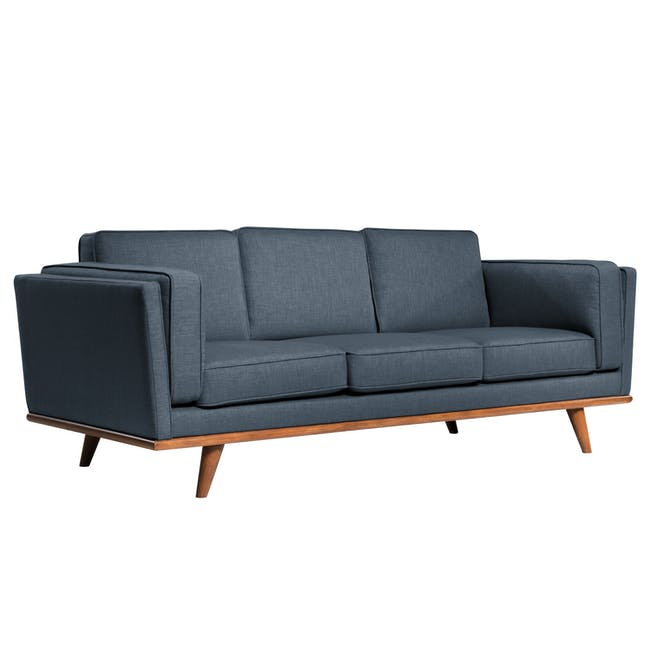 Carter 3 Seater Sofa in Space Blue with Daewood in Dark Grey - 3