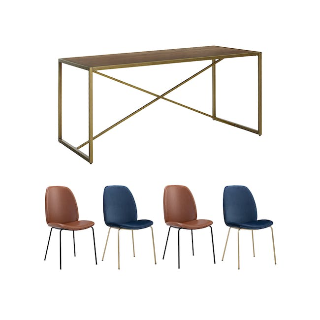 Reagan Dining Table 1.8m with 4 Anika Side Chairs - 0