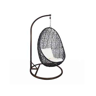 Black Cocoon Swing Chair with White Cushion - Image 1