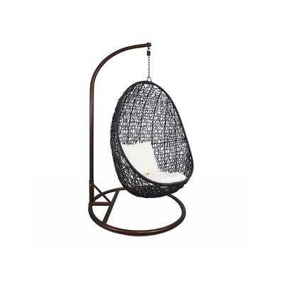 Black Cocoon Swing Chair with White Cushion