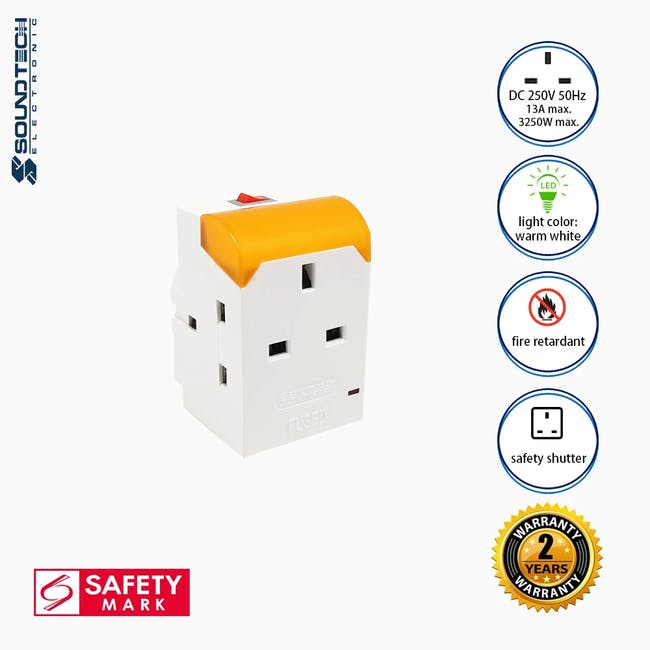 SOUNDTEOH LED Night Light With Multiway Adaptor - Warm White - 1