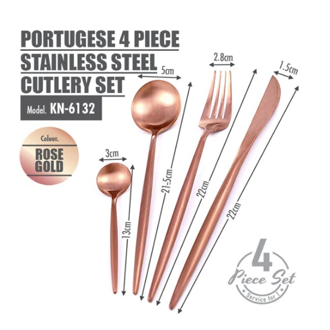 Portugese 4pc Stainless Steel Cutlery Set - Rose Gold - 2