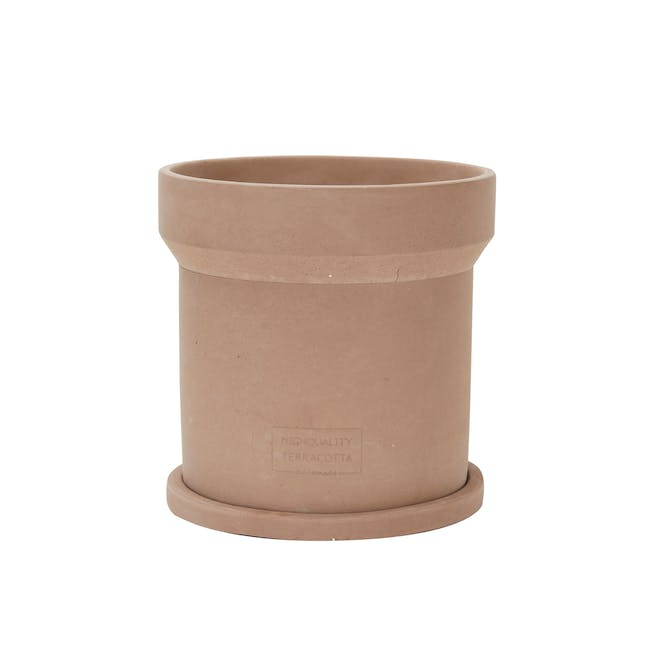 Mario Terracotta Pot with Saucer  - Large - 0