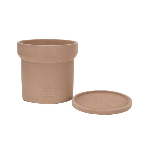 Mario Terracotta Pot with Saucer  - Large - 1