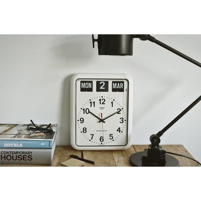 TWEMCO Analog Calendar Flip Wall Clock - White - 1