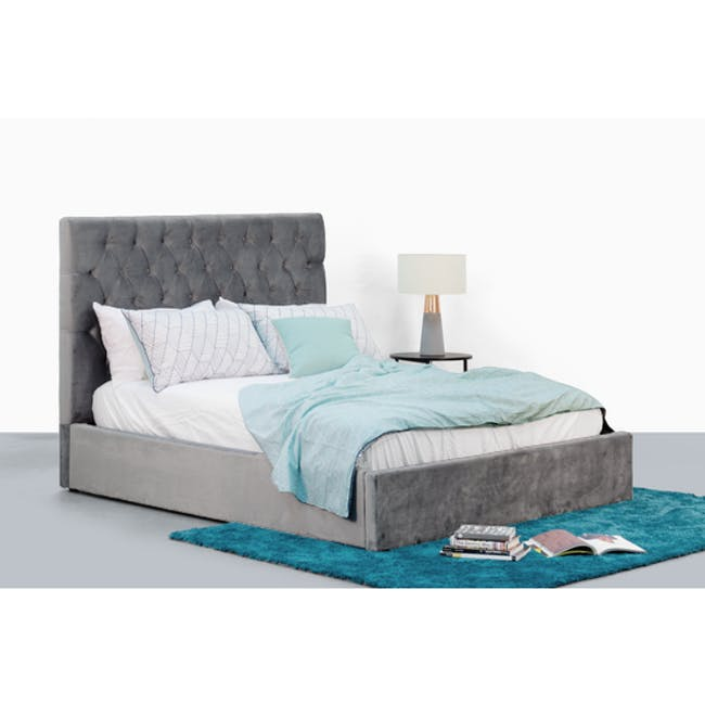 Isabelle Queen Storage Bed - Seal Grey (Velvet) - 1