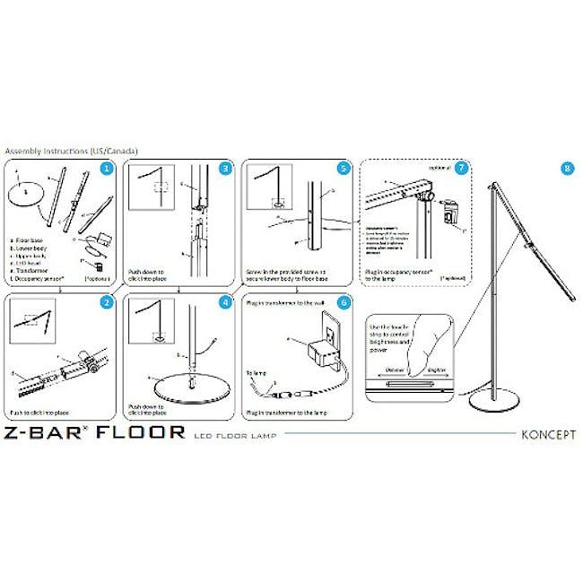 Koncept Z-Bar LED Floor Lamp - Silver - 5